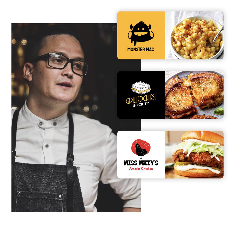 Chef next to Nextbite virtual restaurant brand concepts